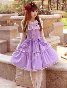 Lolita  White And Purple Lace Princess Jumper Dress