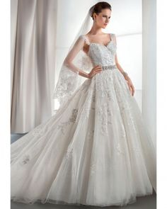 Lace ball gown with sleeves. Demetrios Fall 2013. Best Wedding Dresses 92dc5cebe39f