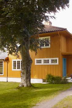 Langs kysten vil kvikkere gultoner ta seg godt ut. Det vakreste resultatet får du ved å ta hensyn til husets historie og arkitektur – uansett om det er nytt eller eldre hus. Våg å bruke farger, og velg den kombinasjonen som fremhever stilen og uttrykket du ønsker for ditt hus. Yellow Houses, Exterior Colors, Shed, Villa, Outdoor Structures, Plants, Exterior Paint Colors, Plant, Fork