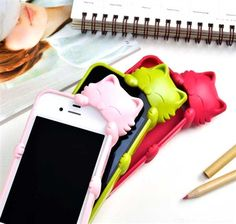 These are so cute! I love the pink one!  coolpencilcase.com  Such cute products!  #Iphone #kittycover