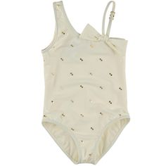 Chloé Ivory all-over gold printed swimsuit