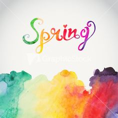 "Watercolor ""spring"" Vector Watercolor Lettering. Abstract Hand Drawn Watercolor…"