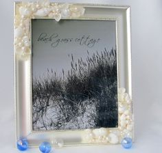 beach wedding seashell frame - silver w white shells   $68