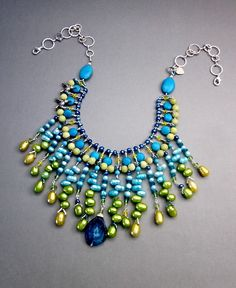 Blue and Lime Green Necklace  Beaded Bib Necklace  by CambaJewelry