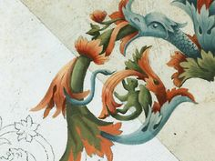 motif de dragon, peinture à la caséine avec ou sans patine