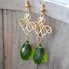 Gold Filigree with Spring Green Drop $18