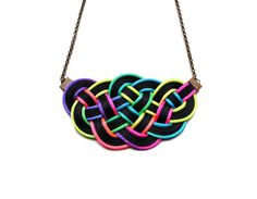 Big knot necklace nautical style neon ombre by elfinadesign