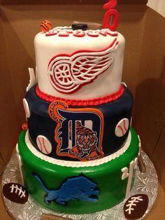 Sports theme wedding cake with detroit tigers, lions and red wings!!! sports weddings, sport themed wedding ideas #wedding