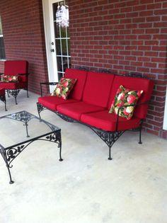 Outdoor Sofa, Outdoor Furniture, Outdoor Decor, Red Cushions, Home Decor, Red Pillows, Decoration Home, Room Decor, Home Interior Design