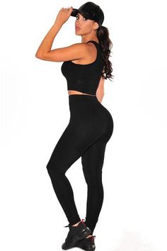 Designed in a body-flattering shape, round neck, sleeveless and racer back crop top; Fitted full-length pant with elastic waistband and stretchy #workout set