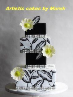 Wedding cake by Marek Black And White Wedding Cake, White Wedding Cakes, Elegant Wedding Cakes, Beautiful Wedding Cakes, Gorgeous Cakes, Pretty Cakes, White Cakes, Big Cakes, Crazy Cakes