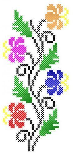 programe de broderie, motive f Cross Stitch Borders, Cross Stitch Flowers, Cross Stitch Charts, Cross Stitch Designs, Cross Stitching, Cross Stitch Embroidery, Hand Embroidery, Cross Stitch Patterns, Canvas Template