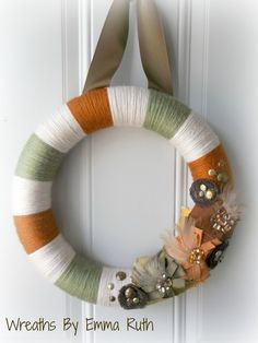 Rustic Fall Yarn Wreath with lots of flowers by WreathsByEmmaRuth, $30.00