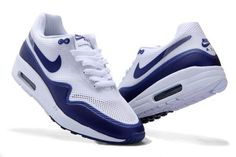 sale retailer 2625f d6beb Nike Air Max 1 Hyperfuse Womens White Navy Blue Shoes New Models