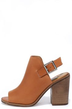 Steve Madden Tallen Cognac Leather Peep-Toe Booties at Lulus.com!