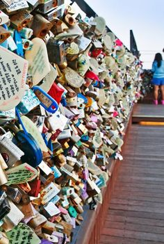 Heart-shaped locks are popular at Seoul's N Seoul Tower. Beautiful Places To Visit, Oh The Places You'll Go, Beautiful World, Love Lock Bridge, Paris City, A Whole New World, Adventure Is Out There, City Lights, Travel Posters