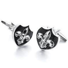 ⚜Elegantes gemelos en rodio plateado, forma de escudo con la flor de lis. Esmaltados en negro, lo que hace que el motivo central en relieve destaque⚜