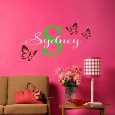 Personalized Childrens Name Butterfly Wall Decals  by LucyLews, $20.00