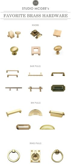 A roundup of Studio McGee& Favorite Brass Hardware Studio Mcgee, Bathroom Hardware, Home Hardware, Brass Hardware, Hardware Pulls, Cabinet Door Hardware, Furniture Hardware, Door Knobs, Front Door Hardware