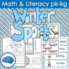 Winter Sports Theme for Pre-k/KG Math & Literacy Worksheets #writetheroom #interactivewordwall #beginningsounds