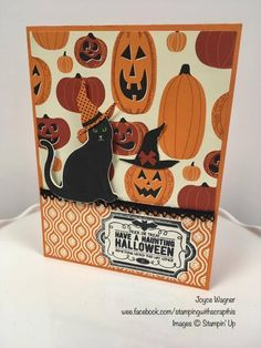 SU - Halloween - Spooky Cat, Labels to Love - Spooky Night dsp Up Halloween, Halloween Cards, Thanksgiving Cards, Holiday Cards, Holiday Ideas, Halloween Invitations, Cat Cards, Stamping Up Cards, Rubber Stamping