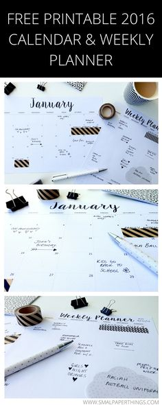 Keep organized this year with this FREE Printable 2016 Calendar. Minimalist/Monochrome style calendar and weekly planner printable. So simple and low on ink usage! Weekly Planner Printable, Free Printable Calendar, Free Printables, Planner Bullet Journal, Life Planner, College Planner, College Tips, 2016 Planner, Project Life Karten
