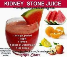 KIDNEY CLEANSE DETOX The Kidney Stone Juice -- This is a great recipe that can help cleanse and relieve kidney stones. If you want to add ice, go for it!