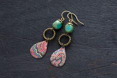 Colorful Bohemian Drop Earrings with Vintage by MusingTreeStudios