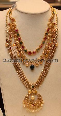 Uncut Two Tone Long Set | Jewellery Designs