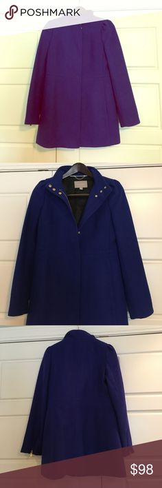 Gorgeous Banana Republic Wool Dress Pea Coat Small Beautiful royal blue wool coat by Banana Republic. Worn a few times to church. Perfect condition! Zipper + button closure. Funnel style neck. Zipper at end of sleeves. Side pockets. Size Small. Banana Republic Jackets & Coats Pea Coats