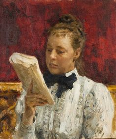 Nordmanová over a book (1900). Ilya Yefimovich Repin (Russian, 1884-1930). Oil on canvas.