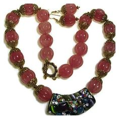 Pink Quartz Carved Beads, Statement Necklace,Large Exotic Colored... ❤ liked on Polyvore featuring jewelry and necklaces