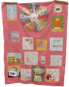 """Excitement has taken over my body since finishing my Ringo Pie quilt top this morning (thanks for the nudge Anna!). I couldn't wait to share it with you, so here it is in all it's glory. """"Kitchenalia"""" The blocks were made by: Marit-stack of pots block Erica- recipe box block Anna- spatula, measuring cup, spoon block Amber- red dot pot block and teacups on a shelf block Corey- hand held blender Amy- cake and cookie container block Lucinda- spoon block and broom/rug block Ayumi- toaster block…"""