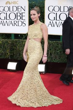 On the Red Carpet at the Golden Globes  Emily Blunt in Michael Kors  Photo by Katie Jones