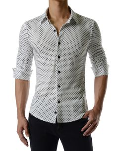 712b1beb7 (CEL59) Mens Slim Fit Dot Pattern Regular Collar Stretchy Long Sleeve Shirts