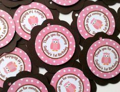 Owl Theme Favor Tags  Pink Owl Happy by getthepartystarted on Etsy, $7.00