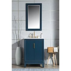 Water Creation Elizabeth 24-in Monarch Blue Single Sink Bathroom Vanity with Carrara White Natural Marble Top in the Bathroom Vanities with Tops department at Lowes.com Single Sink Bathroom Vanity, Vanity Sink, Bath Vanities, Master Bathroom, Blue Vanity, Office Bathroom, Basement Bathroom, Bathroom Faucets, Home Design