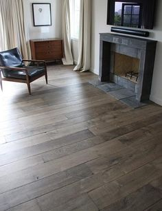 Our custom Aged French Oak floors in manoir gray are extremely popular with interior designers. The unique aging process renders stunning results with the look and patina of genuine antique French oak floors- too black cold Modern Wood Floors, Grey Hardwood Floors, Hardwood Floor Colors, Oak Laminate Flooring, Dark Hardwood, Grey Flooring, Flooring Ideas, Flooring 101, Engineered Hardwood