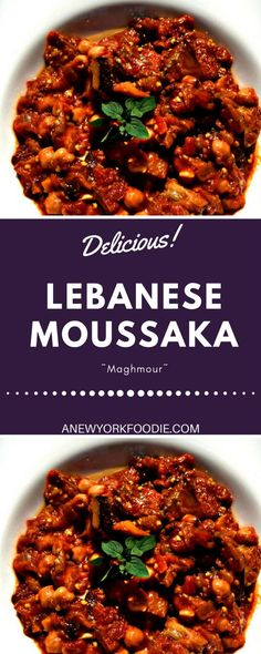 (Maghmour) Lebanese Moussaka is a delicious side dish made with chickpeas, eggplant, tomatoes. A mouthwatering dish from Lebanon.Lebanese Moussaka is a delicious side dish made with chickpeas, eggplant, tomatoes. A mouthwatering dish from Lebanon. Veggie Recipes, Cooking Recipes, Healthy Recipes, Arab Food Recipes, Healthy Lebanese Recipes, Vegetarian Eggplant Recipes, Arabic Recipes, Greek Dishes, Side Dishes