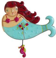 Whimsical Ruby Mermaid pendulum Clock by artist Michelle Allen Designs seahorse