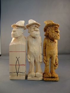 Progressive steps of carving Hillbilly with jug ~ www.woodbeecarver.com