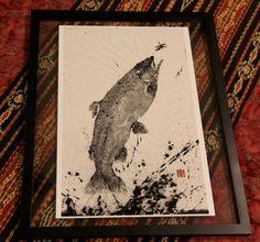 LEAPING RAINBOW TROUT (Niji Masu) - gyotaku print - traditional Japanese fish art by Dwight Hwang. $50.00, via Etsy.