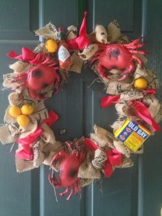Burlap Crab Seafood Boil Door Wreath by MonteFioreEvents on Etsy Shrimp Boil Party, Crawfish Party, Crab Party, Seafood Party, Country Boil, Low Country, Crab Feast, Door Wreath, Wreath Burlap