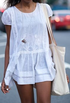 Simple light cute white mini dress