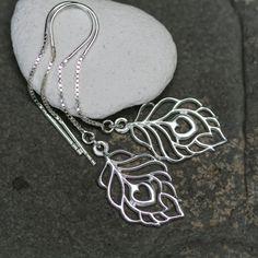 Sterling Silver Peacock Feather Threader Earrings by JewelleryByZM, £20.00