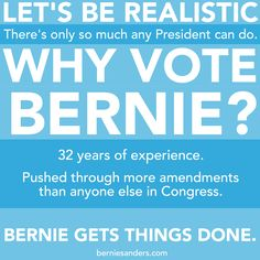 Let's be realistic, alright! Why doesn't Hillary ever mention all of her fantastic achievements in Congress? All we hear about is her time as Secretary of State, which was not so hot! Bernie Sanders has integrity, judgment AND experience -- way, WAY more experience than Hillary Clinton, as an elected official who got real results. BE REALISTIC. VOTE SANDERS 2016. #feeltheBern #FeelTheBern #BernieSanders #VoteBernie #Bernie2k16 #polls #caucus #HillaryClinton