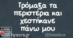 Τρόμαξα τα περιστέρια… Sarcastic Quotes, Funny Quotes, Greek Quotes, Greek Sayings, Funny Thoughts, Just For Laughs, Wallpaper Quotes, Picture Quotes, Puns