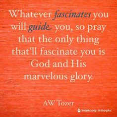 Whatever fascinates you will guide you, so pray that the only thing that'll fascinate you is God and His marvelous glory. <3 // AW Tozer