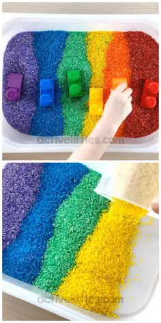 How to dye rainbow rice using food coloring? This is an easy recipe and super duper simple way to dye rice at home for kids. Use it as a sensory bin for toddlers, preschool and kindergarten children. rice videos How to dye rainbow rice for kids Toddler Crafts, Diy Crafts For Kids, Preschool Activities, Fun Crafts, Motor Activities, Babysitting Activities, Toddler Learning Activities, Infant Activities, Rainbow Rice