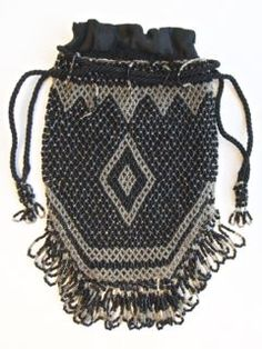 Bags, Handbags & Cases Reasonable Antique Art Deco Checker Crochet Iridescent Peacock Blue Bead Drawstring Purse